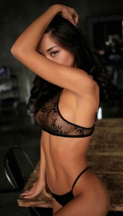Brunette Jessy in black lace lingerie